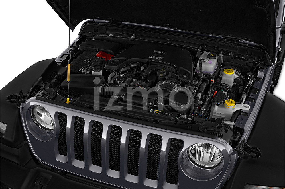 Car Stock 2020 JEEP Wrangler Sport 3 Door SUV Engine  high angle detail view