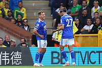 28th August 2021; Carrow Road, Norwich, Norfolk, England; Premier League football, Norwich versus Leicester; Marc Albrighton of Leicester City celebrates his goal for 1-2 in the 76th minute
