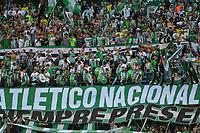 MEDELLÍN-COLOMBIA, 27-04-2019: Hinchas de Atlético Nacional durante partido de la fecha 18 entre Atlético Nacional y América de Cali, por la Liga Águila I 2019, jugado en el estadio Atanasio Girardot de la ciudad de Medellín. / Fans of Atletico Nacional during a match of the 18th date between Atletico Nacional and America de Cali, for the Aguila Leguaje I 2019 played at the Atanasio Girardot Stadium in Medellin city. / Photo: VizzorImage / León Monsalve / Cont.