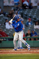 Rancho Cucamonga Quakes second baseman Omar Estevez (21) at bat during a California League game against the Stockton Ports at Banner Island Ballpark on May 16, 2018 in Stockton, California. Rancho Cucamonga defeated Stockton 6-3. (Zachary Lucy/Four Seam Images)