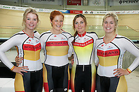 Southland's Women Team Pursuit Laura Heywood, Kirstie James, Sophie Williamson and Sequoia Cooper at the BikeNZ Elite & U19 Track National Championships, Avantidrome, Home of Cycling, Cambridge, New Zealand, Sunday, March 16, 2014. Credit: Dianne Manson
