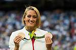Spanish swimmer Mireia Belmonte Garcia shows her medals before the La Liga match between Real Madrid vs RC Celta de Vigo at the Santiago Bernabeu Stadium on 27 August 2016 in Madrid, Spain. Photo by Diego Gonzalez Souto / Power Sport Images