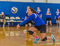 18 October 2015: Yeshiva University Maccabee Setter, Defensive Specialist and team co-Captain Aliza Muller, a Senior from Los Angeles, CA, in action against the Sage College Gators, at the Peter Sharp Center, College of Mount Saint Vincent, in Riverdale, NY. The Gators defeated the Maccabees 3-0 in the NCAA Division III Women's Volleyball Skyline matchup. Mandatory Credit: Ed Wolfstein Photo *** RAW (NEF) Image File Available ***