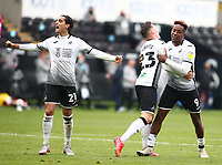 1st May 2021; Liberty Stadium, Swansea, Glamorgan, Wales; English Football League Championship Football, Swansea City versus Derby County; Connor Roberts of Swansea City celebrates with team mates after scoring his sides second goal to make it 2-1 in the 66th minute