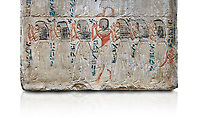 Ancient Egyptian stele of Djehutynefer, treasury Scribe, limestone, New Kingdom, 18th Dynasty, (1480-1400 BC), Thebes,  Egyptian Museum, Turin. white background,  Old Fund cat 1456.<br /> <br /> The detail of the stele depicts the brothers and sisters of Djehutynefer. The inscription palces the deceased under the protection of Amon in the great temple of Karnak underlining that he is entitled to share offerings brought to the god.