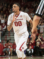 NWA Democrat-Gazette/ANTHONY REYES • @NWATONYR<br /> Rashad Madden, Arkansas senior, celebrates a made three against Tennessee Tuesday, Jan. 27, 2015 in Bud Walton Arena in Fayetteville. The Razorbacks won 69-64.