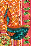 Illustrative image of decorated oil lamp representing Diwali festival