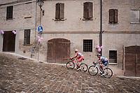 breakaway riders Marco Frapporti  (ITA/Androni Giocattoli - Sidermec) & Damiano Cima (ITA/Nippo - Vini Fantini) climbing up a wet cobbled road<br /> <br /> Stage 8: Tortoreto Lido to Pesaro (239km)<br /> 102nd Giro d'Italia 2019<br /> <br /> ©kramon
