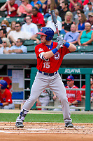 Buffalo Bisons outfielder Billy McKinney (15) at bat during an International League game against the Indianapolis Indians on July 28, 2018 at Victory Field in Indianapolis, Indiana. Indianapolis defeated Buffalo 6-4. (Brad Krause/Four Seam Images)