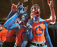 Virginia fans were decked out in school colors from head to toe, some in body paint, to watch the University of Virginia men's basketball team defeat North Carolina 86-66.