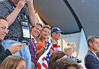 July 30, 2012..Supporters of Team USA hold the Flag at the Aquatics Center on day three of 2012 Olympic Games in London, United Kingdom.