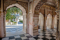 India, Dehradun.  A Sikh Temple built in 1707--the Durbar Shri Guru Ram Rai Ji Maharaj.  Inside, looking out to the courtyard.