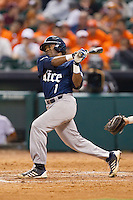 Leon Byrd #1 of the Rice Owls follows through on his swing against the Texas Longhorns at Minute Maid Park on February 28, 2014 in Houston, Texas.  The Longhorns defeated the Owls 2-0.  (Brian Westerholt/Four Seam Images)