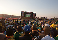 South African fans watch South Africa play France at the FIFA Fan Fest in Sandton, South Africa during the 2010 FIFA World Cup first round match Africa and France on Tuesday, June 22, 2010.   South Africa defeated France 2-1, but failed to qualify for the second round.