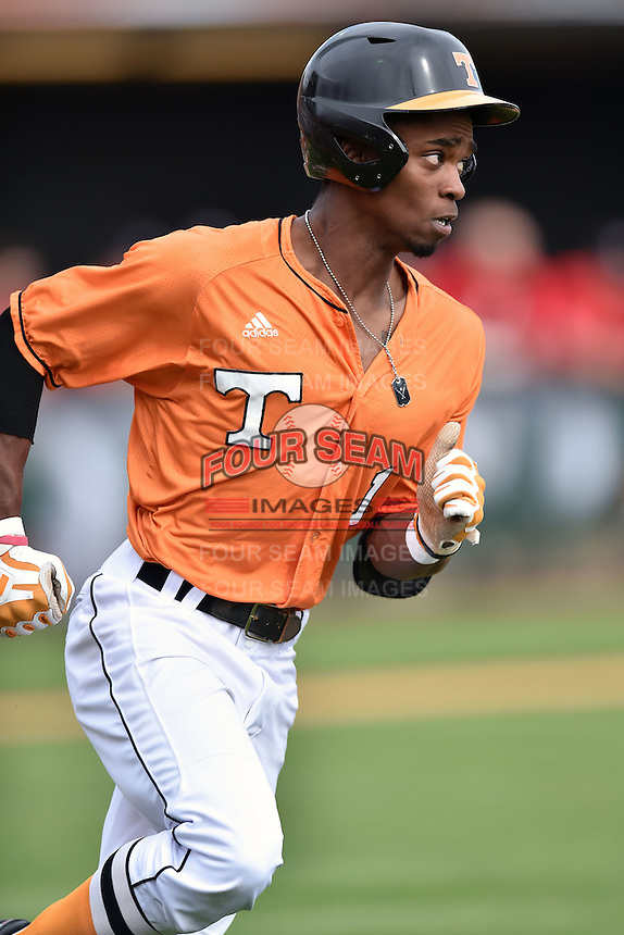 Tennessee Volunteers center fielder Brodie Leftridge (1) runs to first during a game against the Georgia Bulldogs at Lindsey Nelson Stadium March 21, 2015 in Knoxville, Tennessee. The Bulldogs defeated the Volunteers 12-7. (Tony Farlow/Four Seam Images)