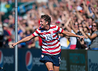 Abby Wambach (14) of the USWNT celebrates a goal during a friendly match at Sahlen's Stadium in Rochester, NY.  The USWNT defeated Costa Rica, 8-0.