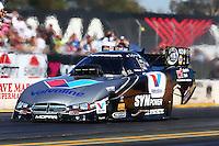 Jul. 25, 2014; Sonoma, CA, USA; NHRA funny car driver Jack Beckman during qualifying for the Sonoma Nationals at Sonoma Raceway. Mandatory Credit: Mark J. Rebilas-