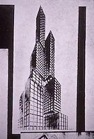 Russian Revolution: Moscow student project for a skyscraper at the Stretenskie Gates, 1924-1925.  Scheme of Lavrov, in Anatole Kopp, CONSTRUCTIVIST ARCHITECTURE IN THE USSR, St. Martin's 1985. Reference only.