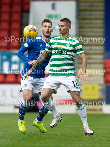St Johnstone v Celtic…04.10.20   McDiarmid Park  SPFL<br />Patryk Klimala and Jamie McCart<br />Picture by Graeme Hart.<br />Copyright Perthshire Picture Agency<br />Tel: 01738 623350  Mobile: 07990 594431