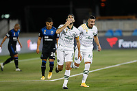 SAN JOSE, CA - SEPTEMBER 19: Diego Valeri #8 of the Portland Timbers celebrates scoring with Marvin Loria #44 during a game between Portland Timbers and San Jose Earthquakes at Earthquakes Stadium on September 19, 2020 in San Jose, California.