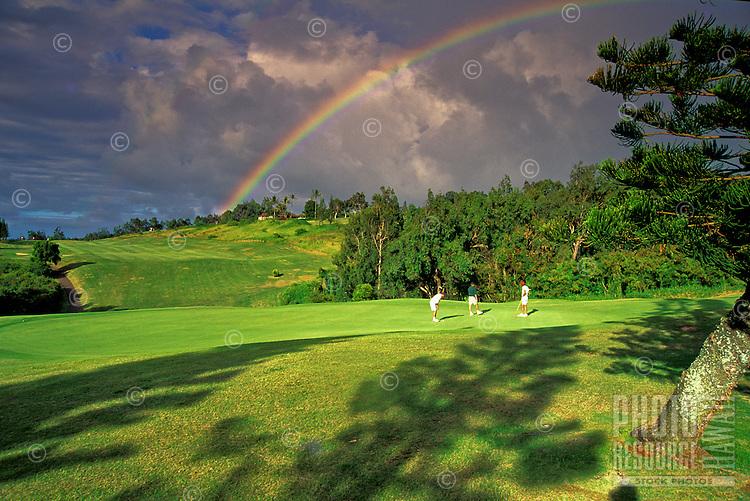 Rainbow over Kapalua golf course, Maui
