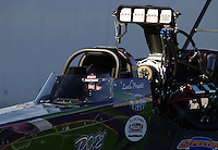 Feb. 16, 2013; Pomona, CA, USA; NHRA top fuel dragster driver Leah Pruett during qualifying for the Winternationals at Auto Club Raceway at Pomona.. Mandatory Credit: Mark J. Rebilas-