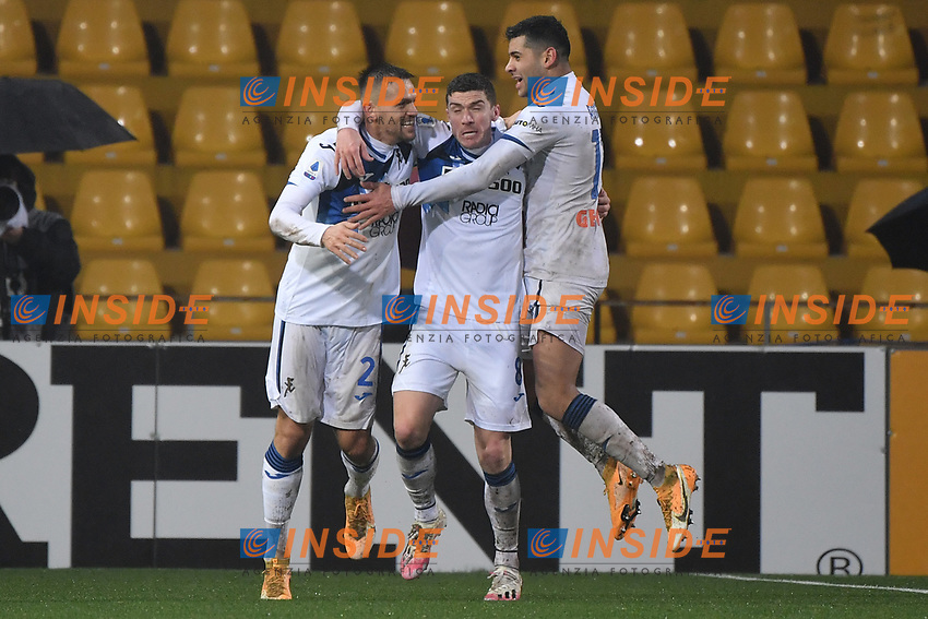 Rafael Toloi of Atalanta celebrates with Gosens after scoring the 1-2 goal<br /> during the Serie A football match between Benevento Calcio and Atalanta BC at Ciro Vigorito stadium in Benevento (Italy), January 9th, 2021. Photo Andrea Staccioli / Insidefoto