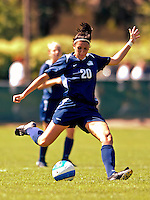 2 September 2007: University of New Hampshire Wildcats' Katie Lutar, a Senior from Guilford, CT, in action against the University of Central Arkansas Sugar Bears at Historic Centennial Field in Burlington, Vermont. The Wilcats shut out the Sugar Bears 3-0 during the TD Banknorth Soccer Classic...Mandatory Photo Credit: Ed Wolfstein Photo