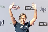 Trofeo Settecolli di nuoto al Foro Italico, Roma, 13 giugno 2013.<br /> Federica Pellegrini, of Italy, waves to fans at the Sevenhills swimming trophy in Rome, 13 June 2013.<br /> UPDATE IMAGES PRESS/Isabella Bonotto