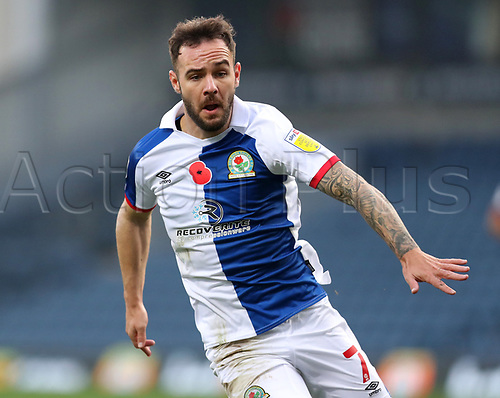 7th November 2020; Ewood Park, Blackburn, Lancashire, England; English Football League Championship Football, Blackburn Rovers versus Queens Park Rangers; Adam Armstrong of Blackburn Rovers wearing a shirt with a Remembrance Day Poppy on the chest