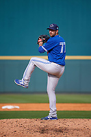 Toronto Blue Jays pitcher Brady Dragmire (77) delivers a pitch during a Spring Training game against the Pittsburgh Pirates on March 3, 2016 at McKechnie Field in Bradenton, Florida.  Toronto defeated Pittsburgh 10-8.  (Mike Janes/Four Seam Images)