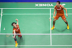 Takeshi Kamura and Keigo Sonoda of Japan compete against Mathias Boe and Carsten Mogensen of Denmark during their Men's Doubles Final of YONEX-SUNRISE Hong Kong Open Badminton Championships 2016 at the Hong Kong Coliseum on 27 November 2016 in Hong Kong, China. Photo by Marcio Rodrigo Machado / Power Sport Images