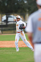 Ethan Holbrook (6) Ukiah, California during the Baseball Factory All-America Pre-Season Rookie Tournament, powered by Under Armour, on January 13, 2018 at Lake Myrtle Sports Complex in Auburndale, Florida.  (Michael Johnson/Four Seam Images)