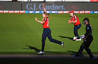 England's Freya Davies celebrates dismissing Brooke Halliday during the 3rd international women's T20 cricket match between the New Zealand White Ferns and England at Sky Stadium in Wellington, New Zealand on Sunday, 7 March 2021. Photo: Dave Lintott / lintottphoto.co.nz