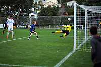 Olympic keeper Scott Basalaj makes a late save during the Central League football match between Miramar Rangers and Wellington Olympic AFC at David Farrington Park in Wellington, New Zealand on Saturday, 29 May 2021. Photo: Dave Lintott / lintottphoto.co.nz