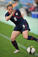 Amy Rodriguez makes a quick change of direction. The USA captured the 2010 Algarve Cup title by defeating Germany 3-2, at Estadio Algarve on March 3, 2010.
