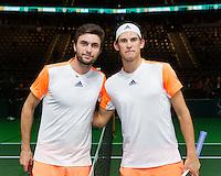 ABN AMRO World Tennis Tournament, Rotterdam, The Netherlands, 16 Februari, 2017, Gilles Simon (FRA), Dominic Thiem (AUT)<br /> Photo: Henk Koster