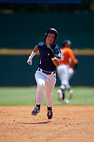 Jude Putz (6) of Bishop Miege High School in Village Of Loch Lloyd, MO during the Perfect Game National Showcase at Hoover Metropolitan Stadium on June 19, 2020 in Hoover, Alabama. (Mike Janes/Four Seam Images)