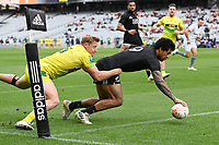 22nd May 2021; Eden Park, Auckland New Zealand; All Blacks Sevens versus Australia, Trans-Tasman Sevens;  Regan Ware scores a try.