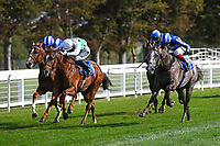 Winner of The PKF Francis Clark British EBF Novice Stakes (Plus 10) (Div 1) Bellocio (right) ridden by David Egan and trained by David Menuisier  during Horse Racing at Salisbury Racecourse on 1st October 2020