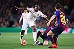 UEFA Champions League 2018/2019.<br /> Quarter-finals 2nd leg.<br /> FC Barcelona vs Manchester United: 3-0.<br /> Sergi Roberto,  Ivan Rakitic & Paul Pogba.