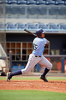 Tampa Bay Rays Carlos Vargas (95) follows through on a swing during a Florida Instructional League game against the Baltimore Orioles on October 1, 2018 at the Charlotte Sports Park in Port Charlotte, Florida.  (Mike Janes/Four Seam Images)
