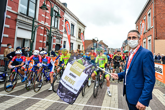 The start of La Fleche Wallonne 2020, running 202km from Herve to Mur de Huy, Belgium. 30th September 2020.<br /> Picture: ASO/Gautier Demouveaux | Cyclefile<br /> All photos usage must carry mandatory copyright credit (© Cyclefile | ASO/Gautier Demouveaux)