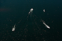 Aerial photo of speed boats on Lake Norman in Mecklenburg County, NC, taken May 2008.