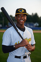 West Virginia Black Bears third baseman Ke'Bryan Hayes (3) poses for a photo before a game against the Batavia Muckdogs on August 31, 2015 at Dwyer Stadium in Batavia, New York.  Batavia defeated West Virginia 5-4.  (Mike Janes/Four Seam Images)