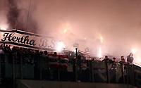 Hertha Fans with flares<br /> / Sport / Fußball Fussball / DFB Pokal 1. Runde 3.Liga Bundesliga / Saison 2017/2018 / 14.08.2017 / FC Hansa Rostock FCH vs. Hertha BSC Berlin *** Local Caption *** © pixathlon +++ tel. +49 - (040) - 22 63 02 60 - mail: info@pixathlon.de