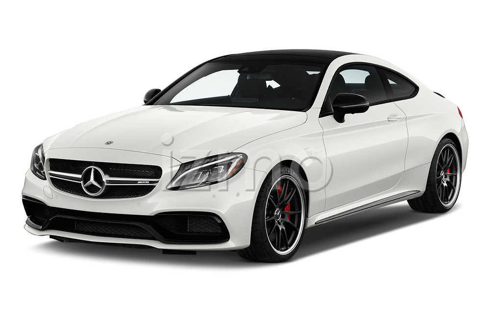 2018 Mercedes Benz C-Class Coupe AMG C63 S 2 Door Coupe angular front stock photos of front three quarter view