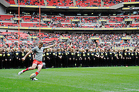 Owen Farrell of Saracens practises his goalkicking before the Aviva Premiership match between Saracens and Harlequins at Wembley Stadium on Saturday 31st March 2012 (Photo by Rob Munro)