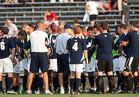 04 September 2009: Bobby Clark coach of the University of Notre Dame  University talks to his players during an Adidas Soccer Classic match against Wake Forest at the University of Indiana in Bloomington, In. The game ended in a 1-1 tie..