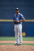 West Michigan Whitecaps relief pitcher Johan Belisario (9) looks in for the sign during a game against the Quad Cities River Bandits on July 23, 2018 at Modern Woodmen Park in Davenport, Iowa.  Quad Cities defeated West Michigan 7-4.  (Mike Janes/Four Seam Images)